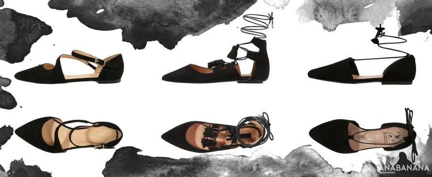 Ballerina Schuhe Spitz schwarz