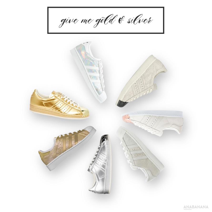 Adidas Superstar Sneaker Metallic Gold Silver Glitter