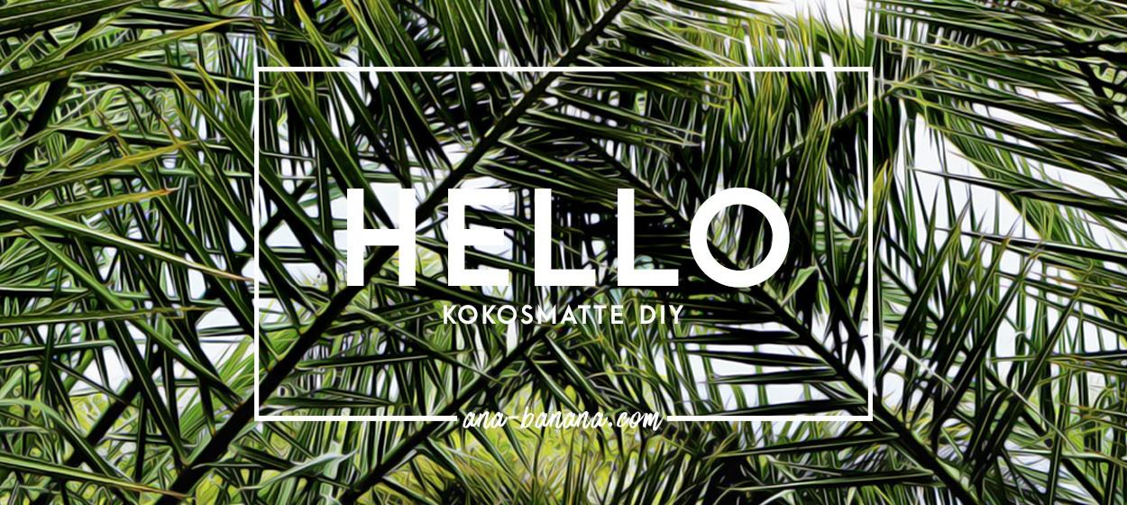 DIY Kokosmatte mit Palmen und Typografie bemalen